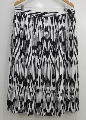 e1fa07a68 Lands' End Canvas Printed Pleated Midi Skirt Womens Size 16 Black White