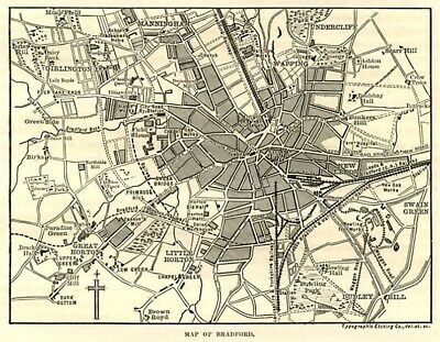 Bradford, map of  centre, SUPERB antique engraving, 1880s ready mounted