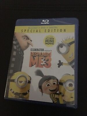 Brand New Despicable Me 3 (Blu-ray + DVD + Digital) Free Shipping