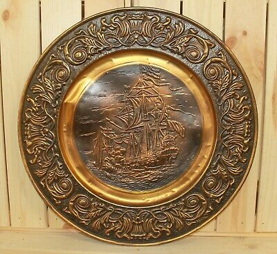 Vintage ornate wall hanging copper/brass plate seascape ship