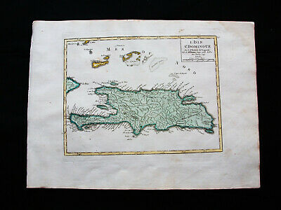 1749 VAUGONDY - orig. map of CENTRAL AMERICA, CARIBBEAN, SANTO DOMINGO, HAITI...