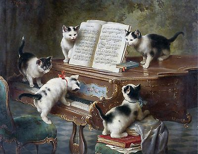 "1908- Carl Reichert, Cats, Piano, Music sheet, antique decor, 14""x11"" Art Print"