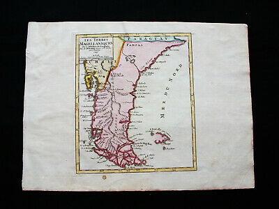 1749 VAUGONDY - orig. map: SOUTH AMERICA, CHILE, ARGENTINA, STRAIT of MAGELLAN