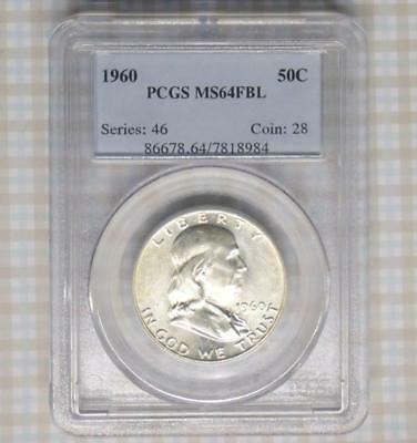 1960 PCGS MS64 Full Bell Line Franklin Silver Half Dollar, MS64 FBL Coin