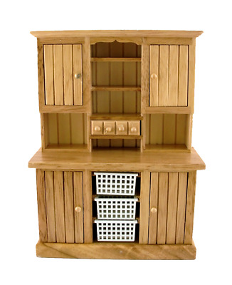 Dolls House Large Oak Dresser with Basket Drawers Miniature Kitchen Furniture