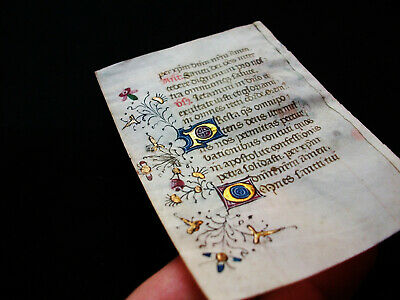 1420 Amazing ILLUMINATED MEDIEVAL MANUSCRIPT on VELLUM, Latin Book of Hours..H08