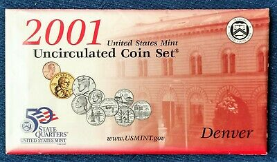 2001 D & P 20-Coin Uncirculated Set, Sacagawea Dollar, OGP & COA.