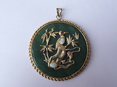 Chinese Gold Plated And Jade Good Luck Pendant
