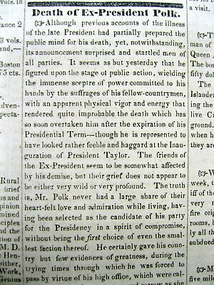 1849 headline newspaper announcing the DEATH of Ex-PRESIDENT JAMES KNOX POLK