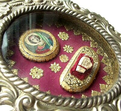 RARE LARGE ANTIQUE RELIQUARY w/ 1st CLASS CAT RELIC OF SAINT MARGARET OF ANTIOCH