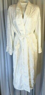 Vintage Long Woman Robe Ivory Victoria Secret Lady Petite Small P/S Cream Etched