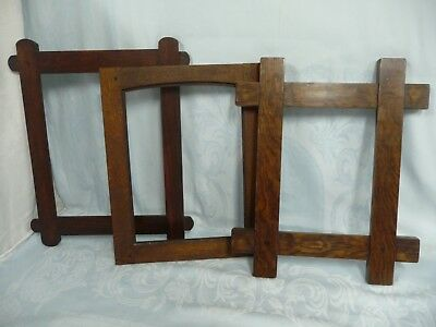3 ANTIQUE ARTS & CRAFTS SOLID OAK FRAMES, 1 ARTIST SIGNED, APPROX. 8x11 & 11x14