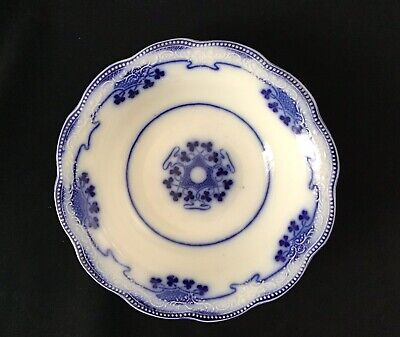 Lovely Antique W H Grindley Lorne Flow Blue White China Cereal Bowl Shamrocks