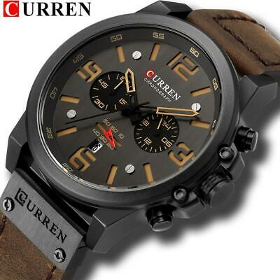 CURREN Mens Watches Top Luxury Brand Waterproof Sport Wrist Watch Chronograph Qu