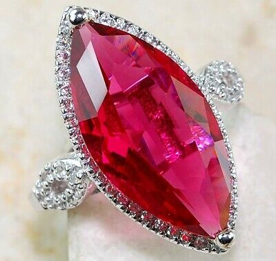 Flawless 8CT Ruby & White Topaz 925 Solid Sterling Silver Huge Ring Jewelry Sz 8