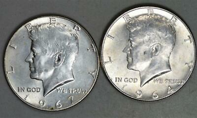 1964 90% silver and 1967 40% Silver Kennedy Half Dollar Lot of 2 Coins