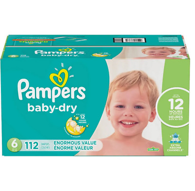Pampers Baby Dry Disposable Diapers Enormous Pack  Size 6 (112 Count)