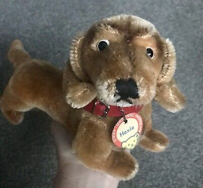 "Steiff Hexie Dachsund Dog Mohair 1960's 8"" EAN # 1313,00 Button And Chest Tag Ex"