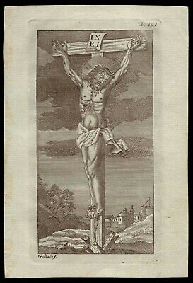 CHRIST CRUCIFIED 97x143mm Antique 18th Cent. ENGRAVING FROM BOOK