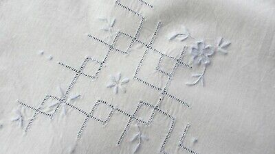 Antique Vintage Cotton Blue Embroidered Table Cloth,90 cms x 85 cms