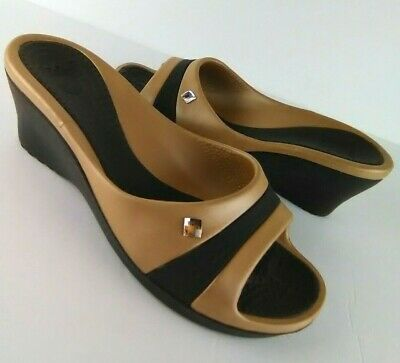 4c2730b5e Crocs Sassari Wedge Slip On Sandals Band Bronze Brown Women s Sz 10  Rhinestone