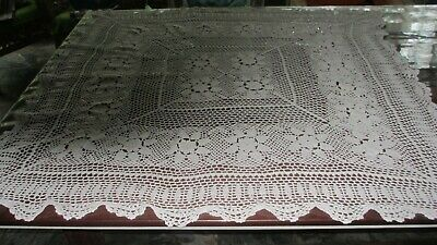 Vintage Cotton Handmade White Lace Table Cloth,120cms x 115 cms