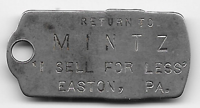 """Easton, PA, Return to Mintz """"I Sell For Less"""" Charge Coin, Owners No. 1396 Shirt"""
