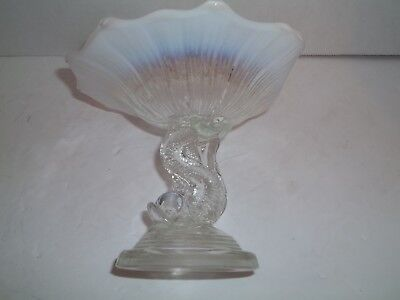 ANTIQUE NORTHWOOD White Opalescent Glass Dolphin Fish Compote Candy Dish Rare
