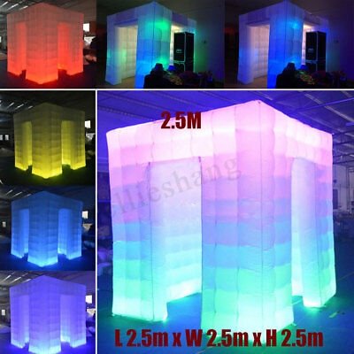 2 Door 8 LED Color Inflatable Cube Air Photo Booth Tent  Photo Booth Cube Tent