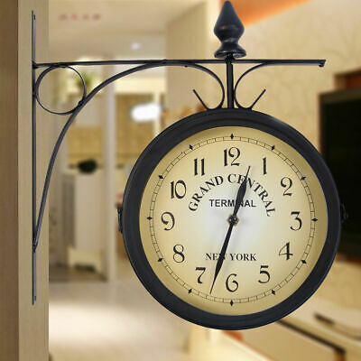 Antique Wall Mount Clock Garden Outdoor Station Double Side with Bracket T9M7I