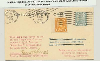 """Canada 1933 (#3343 See Aamc Notes) Attested Card Flown """"sky Chief""""signed F.hawks"""