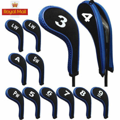 New 12Pcs/set Blue Golf Clubs Iron Head Covers Headcovers with Zipper Long Neck