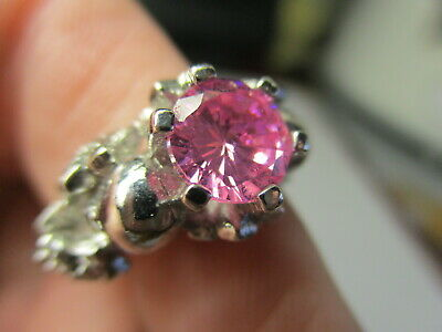 Sterling Silver 925 Estate Pink Cubic Zirconia Multi Flower Band Ring Size 5.75