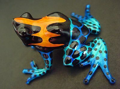 Glass FROG Toad Shiny Orange Blue Black Blown Amazon Glass Animal Glass Ornament