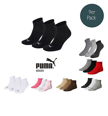 Puma Socks Quarter Sneakers Trainers Ladies, Men's 9 Piece Pack Sizes 35-46 -