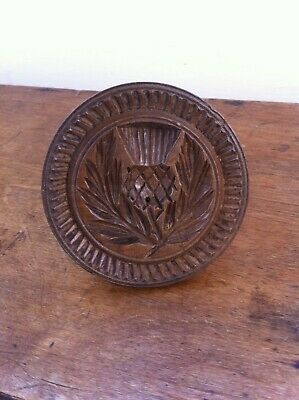 LOVELY DECORATIVE ANTIQUE CARVED WOODEN BUTTER STAMP - THISTLE & LEAVES 3.5 inch