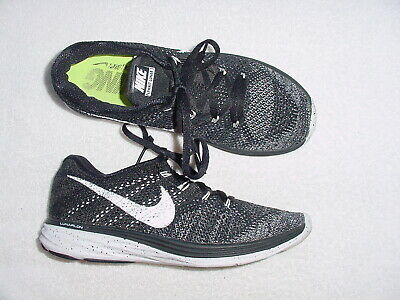 on sale af95d 64225 Mens Authentic Nike Flyknit Lunar 3 Black White Running Sneakers Shoes 9 M