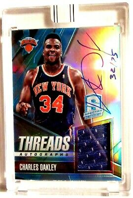 '15/16 Replay CHARLES OAKLEY ON-CARD AUTOGRAPH & GAME USED JERSEY 32/75 NY Knick