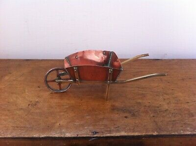 LOVELY DECORATIVE ANTIQUE COPPER & BRASS ARTS & CRAFTS WHEEL BARROW 8 inches