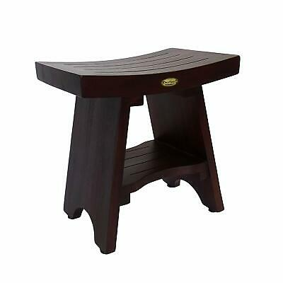"DecoTeak Serenity 18"" Eastern Style Teak Shower Bench Stool With Shelf CA3"