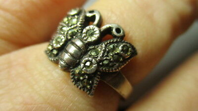Sterling Silver 925 Vintage Cable Ribbed Butterfly Marcasite Band Ring Size 9