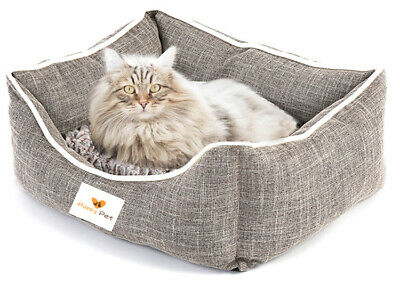 NEW Deluxe Soft Washable Cat Kitten Warm Bed with Fleece Cushion Medium/Large