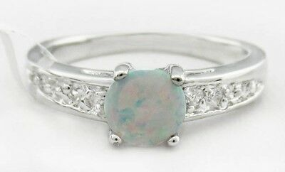 Fine Jewelry Q Genuine Ethiopian Opal Ring With Blue Diamond In Sterling Silver 0.80ct P Fine Rings