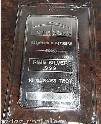 NTR Metals 10 TROY Oz .999 Silver Bar MADE IN USA FREE  TWO DAY SHIP UPGRADE !
