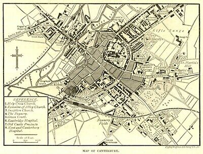 Map of Canterbury centre, antique engraving ready mounted , 1880s SUPERB