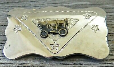 Covered Wagon Western Pioneer Chambers 1980's Small Vintage Belt Buckle