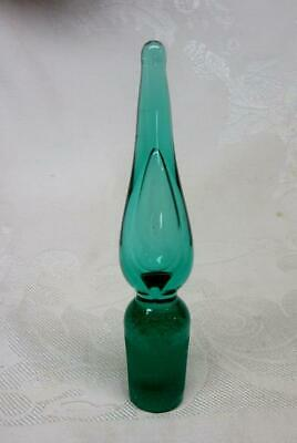 """Vintage BLENKO TEAL GREEN GLASS STOPPER   5""""   Excellent Condition"""
