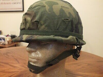 Vintage 1980s US ARMY Combat Helmet & Camouflage Cover, With Liner(Large)