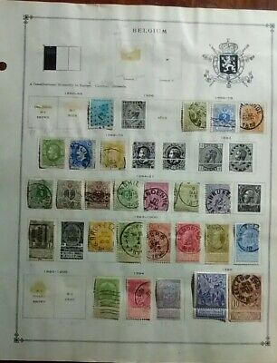 Belgium lot of 45 stamps 1850-1920 hinged on page