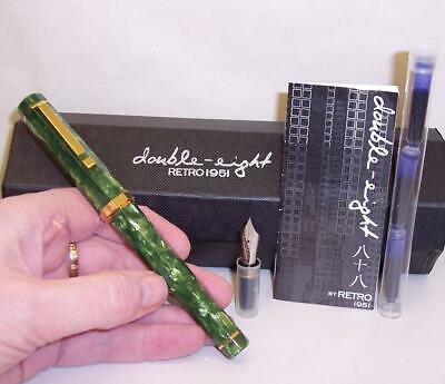 Vintage DOUBLE-EIGHT Marbled Green RETRO 1951 Limited Edition FOUNTAIN PEN Boxed